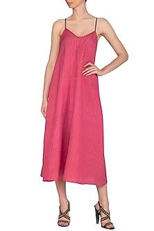 Fuchsia Pink Organic Cotton Slip Dress by Urvashi Kaur