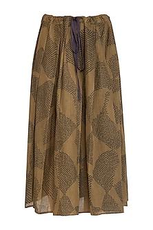 Olive Green Shibori Printed Pleated Skirt by Urvashi Kaur