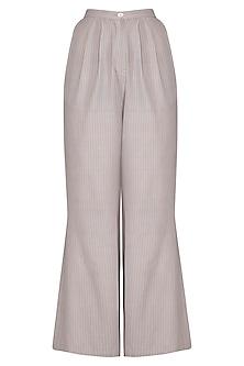 Light Grey Organic Cotton Flared Pants by Urvashi Kaur