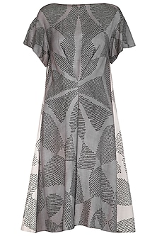 Grey Shibori Printed Panelled Dress by Urvashi Kaur