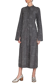 Grey Block Printed Tunic by Urvashi Kaur