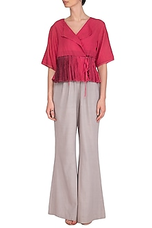 Fuchsia Pink Tie & Dye Peplum Top by Urvashi Kaur