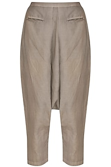 Light Khaki Drop Crotch Pants by Kapda By Urvashi Kaur