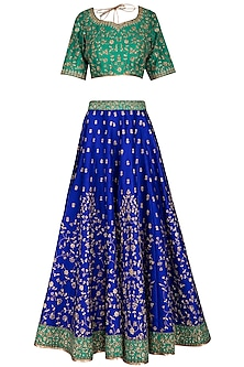 Blue & Green Embroidered Lehenga Set by Vandana Sethi