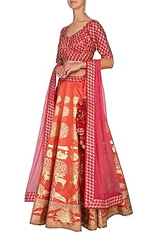 Orange & Fuchsia Block Printed Embroidered Lehenga Set by Vandana Sethi