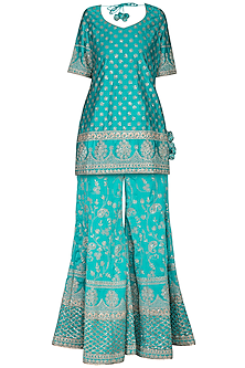 Turquoise Embroidered Sharara Set by Vandana Sethi