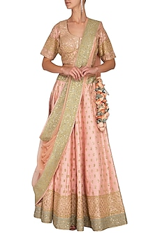 Pink Embroidered Lehenga Set by Vandana Sethi