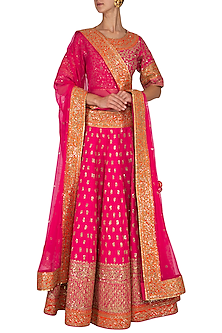 Fuschia & Orange Embroidered Sequins Lehenga Set by Vandana Sethi