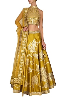 Mustard Embroidered Lehenga Set by Vandana Sethi