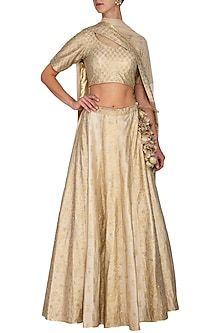 Ivory Block Printed Embroidered Lehenga Set by Vandana Sethi