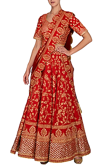 Red Embroidered Sequins Lehenga Set by Vandana Sethi