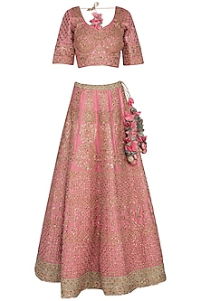 Pink Zari Embroidered Lehenga Set by Vandana Sethi