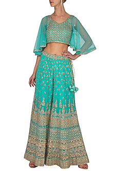 Turquoise Embroidered Sharara Pants With Crop Top by Vandana Sethi