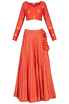 Orange Block Printed & Embroidered Lehenga Set by Vandana Sethi