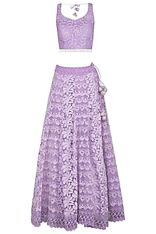 Purple Embroidered Chikankari Lehenga Set by Vandana Sethi