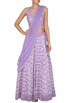Purple Embroidered Chikankari Lehenga Set by Vandana Sethi