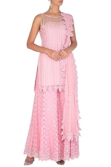 Rose Pink Embellished Sharara Set by Vandana Sethi