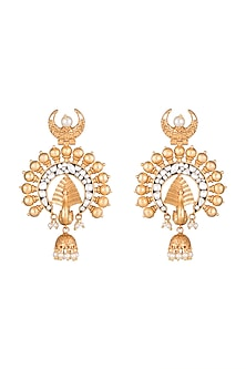 Gold Finish Faux Pearls & Kundan Earrings by VASTRAA Jewellery