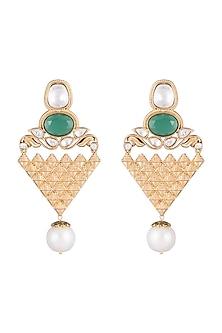 Gold Finish Faux Kundan, Pearls & Green Stone Earrings by VASTRAA Jewellery