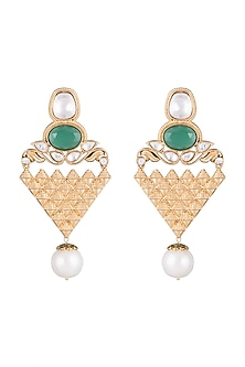 Gold Finish Faux Kundan, Pearls & Green Stone Earrings by VASTRAA Jewellery