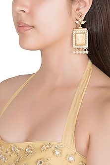 Gold Finish Faux Pearls, Kundan & Red Stone Earrings by VASTRAA Jewellery