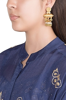 Gold Finish Faux Kundan & Pearls Earrings by VASTRAA Jewellery
