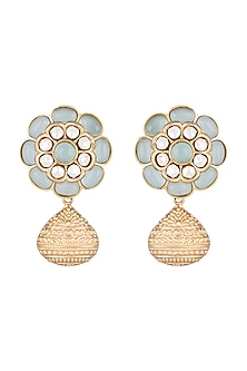 Gold Finish Faux Kundan & Sky Blue Stone Earrings by VASTRAA Jewellery