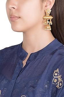 Gold Finish Faux Kundan & Pearl Long Earrings by VASTRAA Jewellery