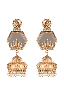 Gold Finish Faux Pearls & Grey Stone Earrings by VASTRAA Jewellery