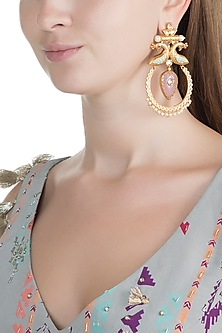 Gold Finish Faux Enameled Pearl, Kundan & Pink Stone Earrings by VASTRAA Jewellery