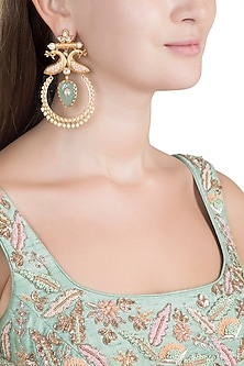 Gold Finish Faux Enameled Pearl, Kundan, Red & Blue Stone Earrings by VASTRAA Jewellery