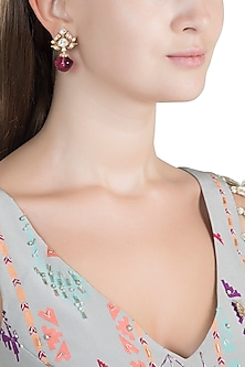 Gold Finish Faux Kundan & Red Stone Earrings by VASTRAA Jewellery