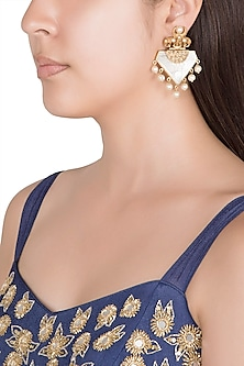 Gold Finish Faux Pearls & White Stones Earrings by VASTRAA Jewellery