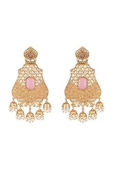 Gold Finish Faux Pearl, Kundan & Pink Stone Earrings by VASTRAA Jewellery