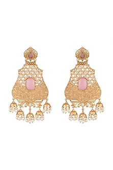 Gold Finish Faux Pearl, Kundan & Pink Stone Earrings by VASTRAA Jewellery