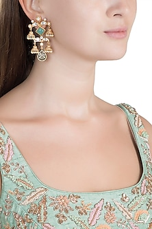 Gold Finish Faux Kundan, Pearl & Turquoise Blue Stone Engraved Earrings by VASTRAA Jewellery