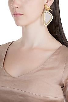 Gold Finish Green Stone Bird Earrings by VASTRAA Jewellery