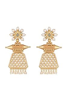 Gold Finish Kundan & Pearl Earrings by VASTRAA Jewellery