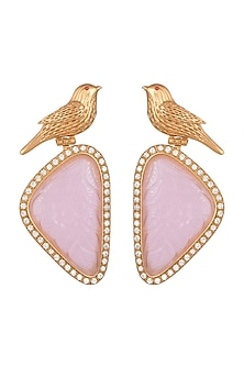 Gold Finish Pink Stone & Faux Diamond Bird Earrings by VASTRAA Jewellery