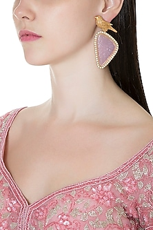 Gold Finish Pink Stone & Faux Diamond Bird Earrings by VASTRAA Jewellery