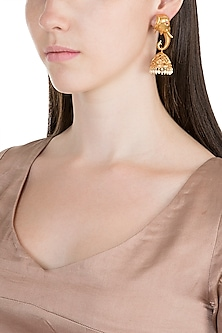 Gold Finish Faux Pearl Elephant Jhumka Earrings by VASTRAA Jewellery