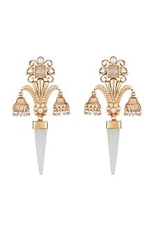 Gold Finish Faux Kundan & Blue Drop Earrings by VASTRAA Jewellery