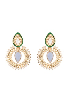 Gold Finish Faux Pearl & Blue Stone Chandbali Earrings by VASTRAA Jewellery