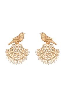 Gold Finish Faux Kundan & Pearl Bird Earrings by VASTRAA Jewellery