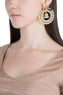 Gold Finish Faux Kundan & Pearl Bird Chandbali Earrings by VASTRAA Jewellery