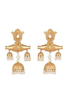Gold Finish Faux Kundan & Pearl Antique Jhumka Earrings by VASTRAA Jewellery
