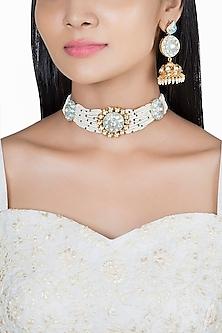 Gold Finish Kundan & Faux Pearl Blue Enameled Choker Necklace Set by VASTRAA Jewellery