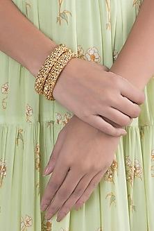 Gold Finish Nakshi Kundan Openable Bangles by VASTRAA Jewellery