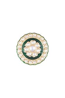 Gold Finish Green Meenakari Ring by VASTRAA Jewellery