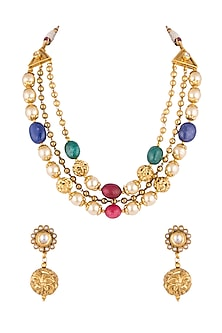 Gold Finish Multi Colored Stones & Faux Pearls Mala Necklace Set by VASTRAA Jewellery